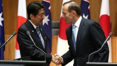 Prime Minister Tony Abbott and Japanese Prime Minister Shinzo Abe in Canberra.