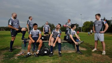 'Masculine guys who love rugby who just happen to be gay' ... the Melbourne Chargers at training.