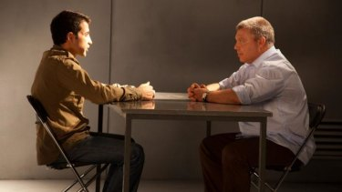 Face-to-face: Mosab Hassan Yousef (left) and his handler Gonen Ben Itzhak in a scene from <i>The Green Prince</i>.