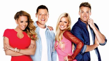 Struggling ... The 2Day FM breakfast team - Mel B, Merrick Watts, Sophie Monk and Jules Lund.