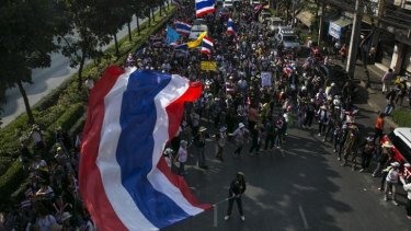 Protests continue: Thai anti-government supporters march in Bangkok.