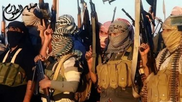 A shot from a video said to show Islamic State of Iraq and the Levant militants near the Iraqi city of Tikrit.