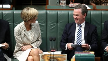 Foreign Affairs Minister Julie Bishop and Education Minister Christopher Pyne during Question Time on Monday.