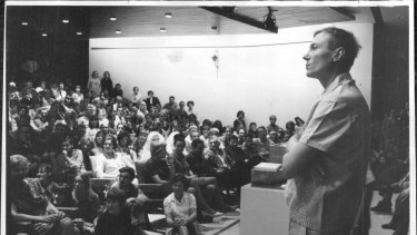 """Star reception: Yevtushenko toured Australia twice to acclaim after writing his poem """"Babi Yar"""". Here he answers questions in Adelaide in April 1966."""