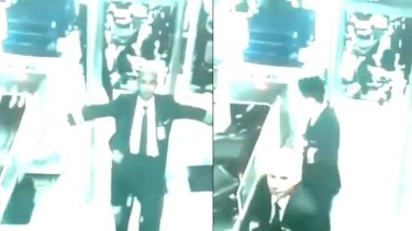 CCTV footage shows the pilots of flight MH370 passing through airport security.