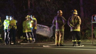 Fatal crash: The wreckage of Sarah Durazza's car after her crash on Monday.