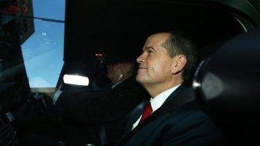 Bill Shorten leaves the Royal Commission. Photo: Daniel Munoz