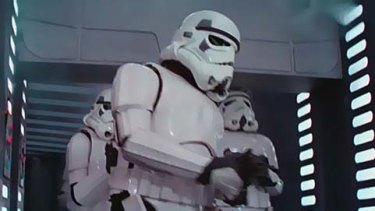 The storm trooper on the right bangs his head in <i>Star Wars - Episode IV: A New Hope</i>.