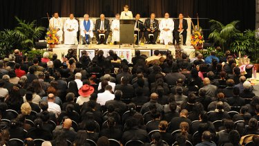 Premier Anna Bligh addresses the gathering of more than 4000 mourners on Thursday night.