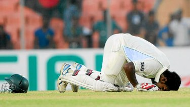 An emotional Abul Hasan celebrates his debut Test century?