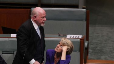 Liberal MP Mal Washer and Deputy Opposition Leader Julie Bishop during last night's vote on Oakeshott's migration bill.