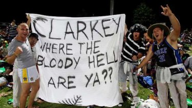 Supporters ask the big question during the one-dayer against New Zealand in Hamilton yesterday.