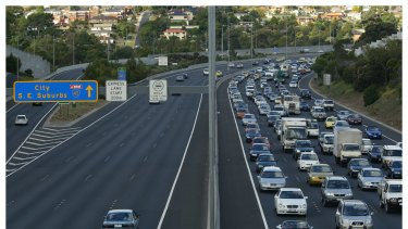 Outbound peak-hour traffic on the Tullamarine Freeway.