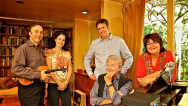 Music makers …Peter Sculthorpe at home with the Goldner String Quartet, Dene Olding, Dimity Hall, Julian Smiles and Irina Moroza.