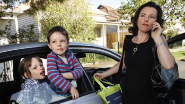 Despite living in the inner city, Giulia Baggio, pictured with children Alessandra and James, gets stressed about the amount of time she spends in the car.