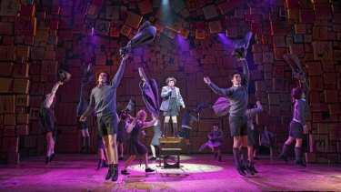 The cast of <I>Matilda The Musical</i>, during a performance in New York.