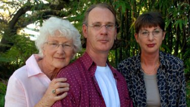 Andrew Mallard with his sister Jacqui and mother Grace.