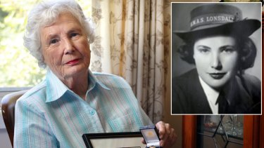 """""""Forgotten army"""" ... Joan Turnour with the certificate and medal sent from the British government, and as a young codebreaker during the war."""