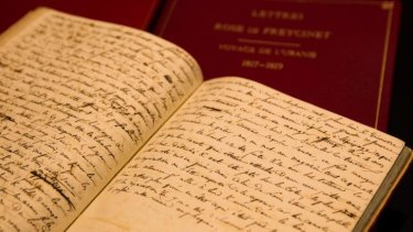 A mourning husband's hand: The journals on display at the State Library of NSW.