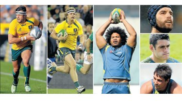 Sanctioned: Adam Ashley-Cooper, Nick Cummins, Tatafu Polota-Nau (from left) are three of the six Wallabies who have been stood down for the Scotland game. Scott Fardy, Dave Dennis and Nick Phipps (from top) were among the nine who were reprimanded.
