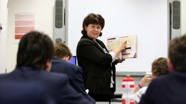 Gabby Capozzi, an English teacher at the St Francis Xavier College in Berwick, tests the new curriculum in class.