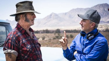 Pointer: Actor John Jarratt, left, and director Greg Mclean on the set of <i>Wolf Creek 2</i>.