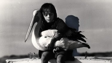 Movie adaptation: Greg Rowe with Mr Percival in the 1978 film <i>Storm Boy</i>.