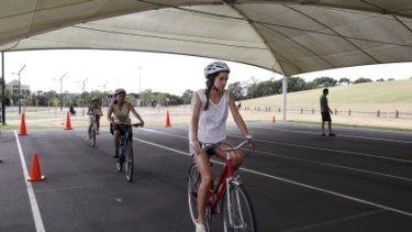 Road savvy ... the City of Sydney runs a cycling confidence course every weekend.