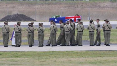A ramp ceremony at Tullamarine Airport for two soldiers killed in Afghanistan.