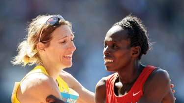 Grandstand finish ... Australia's Kerryn McCann and Kenyan Hellen Cherono Koskei congratulate each other after an epic finish to the marathon at the 2006 Melbourne Games.
