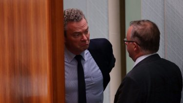 Christopher Pyne and Anthony Albanese during question time on Tuesday.