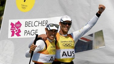 Snubbed by Nine ... Australia's Mathew Belcher and Malcolm Page celebrate as they cross the finish line to win gold.