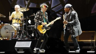 On stage: Keith Richards of the Rolling Stones performs in Melbourne last week.