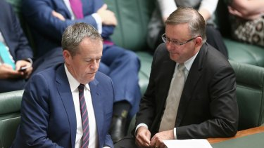 Opposition Leader Bill Shorten and infrastructure spokesman Anthony Albanese in question time on Thursday.