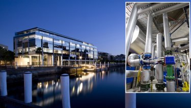 Google's new Australian headquarters. Inset: the built-in sewerage processing plant.