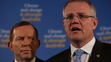 Coalition immigration spokesman Scott Morrison at a press conference earlier this week with Opposition Leader Tony Abbott.