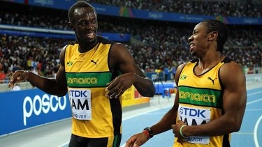 Running to glory ... Usain Bolt and Yohan Blake will go head to head in the 100m sprint.
