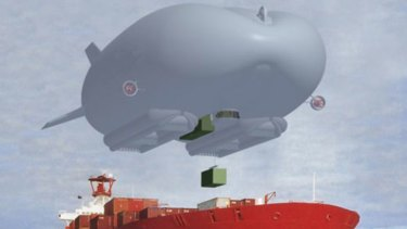 Doing the heavy lifting ... the airships could carry heavy objects to hard-to-reach destinations, as pictured in the Hybird Air Vehicles mock-up above.
