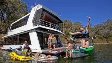 The Courtney family and friends at home and at play on Lake Eildon.