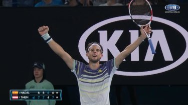 Fifth seed Dominic Thiem will play Germany's Alexander Zverev in the Australian Open semi-finals after stunning world number one Rafael Nadal in four sets.