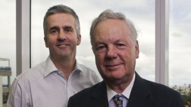 Position of trust...businessman David Say (right) feels at ease taking financial advice from David Gibson of Priority Planners.