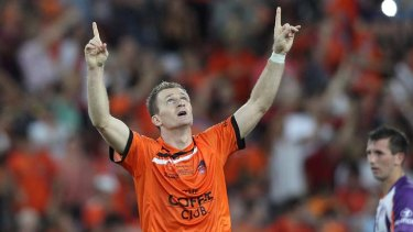 Game-changer ... Besart Berisha gives thanks after scoring the first of his two goals.