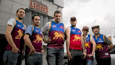 Lions fans, including Adam Staines, Sheldon Peters, James Kliemt, Phil Harsant, Kerryn Wick and Steve Ripper, fought for a return to the original Brisbane Lions guernsey.
