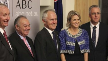 Nationals senator Bruce Scott, Chairman of the ABC Board Jim Spigelman, Communications Minister Malcolm Turnbull, Labor MP Melissa Parke, and ABC managing director Mark Scott launch the Parliament Friends of the ABC group.