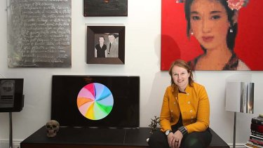 Kate Mills and her video art installation in her apartment.