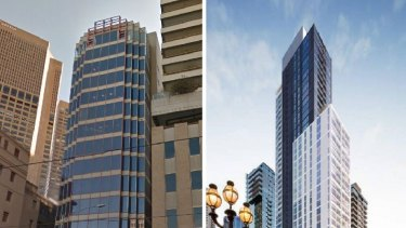 BEFORE AND AFTER: This building at 85 Spring Street (pictured left) is one of a number of office buildings in Melbourne to be converted into luxury apartments (artist's impression pictured right).