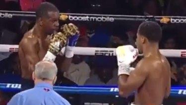 Shakur Stevenson has too much for Jamel Herring struggles during the third round.
