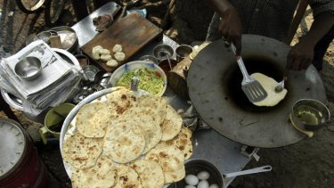 Paratha, a form of unleavened flat bread.