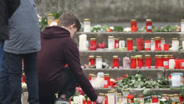 In front of the Joseph-Koenig-Gymnasium high school: 16 students and two teachers from the school were lost in the Germanwings crash.
