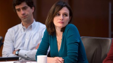 Under fire ... Mackenzie McHale sits uneasy about the Genoa coverage on <i>The Newsroom</i>.